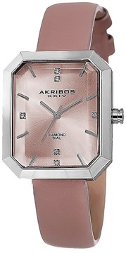 Akribos XXIV Pink Dial Silver-tone Alloy Ladies Watch