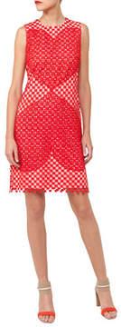Akris Sleeveless Round-Neck Guipure Sheath Dress