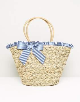 South Beach Stripe Ruffle & Bow Straw Bag