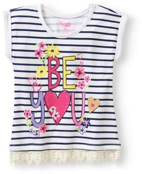 Nannette Little Girls' 4-6X Be You Striped Lace Hem T-Shirt