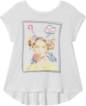 Mayoral White Candy Girl Print Tee