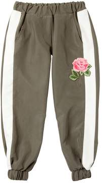 MonnaLisa Rose Embroidered Twill Sweatpants
