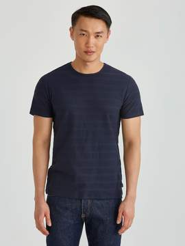 Frank and Oak Piqu Tonal Stripe Crewneck Tee in Navy Blazer