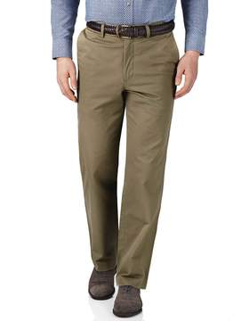 Charles Tyrwhitt Beige Classic Fit Flat Front Cotton Chino Pants Size W32 L34