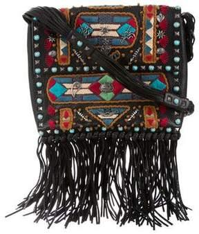 Valentino Rockstud Rolling Embroidered Fringe-Trim Leather Crossbody Bag