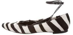 Tamara Mellon Lace-Up Ponyhair Flats
