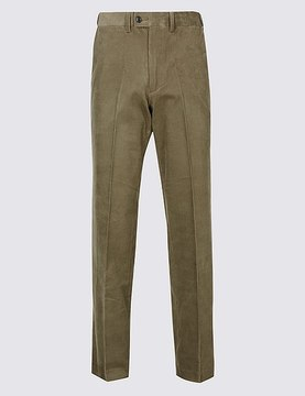 Marks and Spencer Tailored Fit Cotton Rich Corduroy Trousers