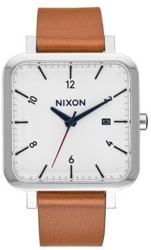 Nixon Ragnar Square Leather Strap Watch, 36Mm