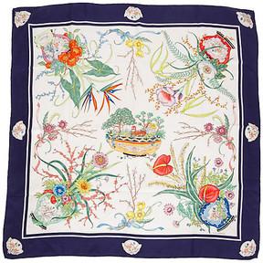 One Kings Lane Vintage Gucci Floral Navy Accornero Silk Scarf - Vintage Lux