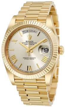 Rolex Day-Date 40 Silver Dial 18K Yellow Gold President Men's Watch