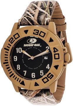 JCPenney Mossy Oak Mens Beige Bezel Camouflage Leather Strap Sport Watch