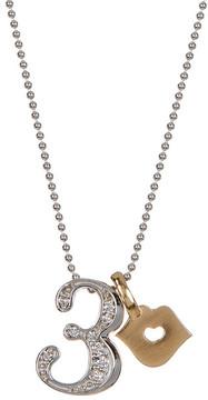Alex Woo 14K White Gold Little Number '3' Diamond Pendant Necklace - 0.10 ctw