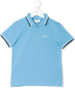 DKNY stripe trim polo shirt