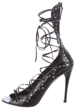 Alaia Leather Studded Lace-Up Sandals