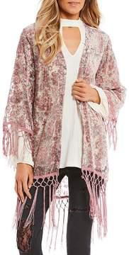Jessica Simpson Floral Burnout Velvet Fringe Kimono