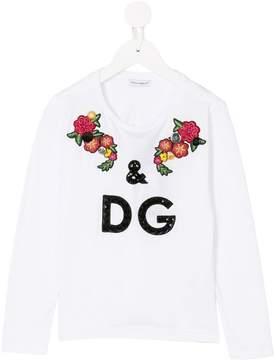 Dolce & Gabbana floral logo appliqué top
