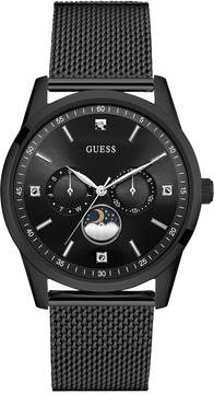 GUESS Men's Traditional Moonphase Black Stainless Steel Mesh Bracelet Watch 42mm U0869G1