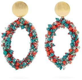 Carolina Herrera Bead-embellished hoop-drop earrings