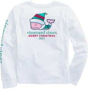 Vineyard Vines Girls Long-Sleeve Elf Whale Pocket Tee