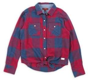 7 For All Mankind Little Girl's & Girl's Plaid Cotton Collared Shirt