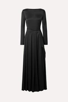 Cédric Charlier Pleated Satin-twill Maxi Dress - Black