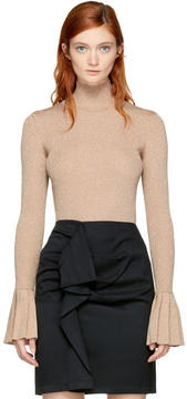 Carven Pink Lurex Turtleneck