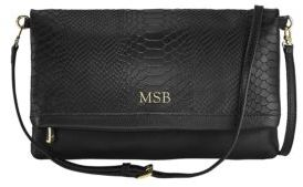 GiGi New York Personalized Carly Python-Embossed Leather Convertible Clutch
