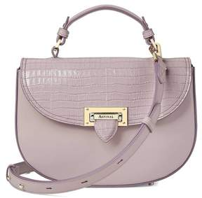 Aspinal of London | Letterbox Saddle Bag In Deep Shine Lilac Small Croc Smooth Lilac | Smooth lilac