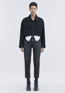 Alexander Wang BLAZE CROP OVERSIZED DENIM JACKET DENIM