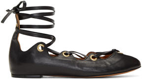 Isabel Marant Black Leomia Lace-Up Ballerina Flats