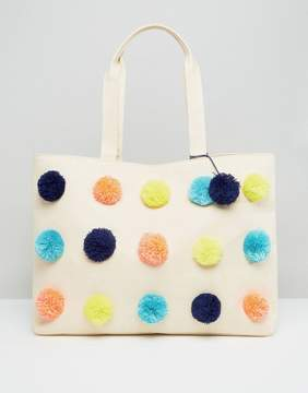Asos BEACH Multi Pom Shopper Bag