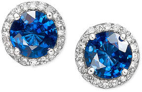 Effy Velvet Bleu by Diffused Sapphire (2 ct. t.w.) and Diamond (1/5 ct. t.w.) Circle Stud Earrings in 14k White Gold, Created for Macy's