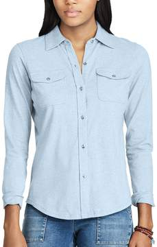 Chaps Women's Jersey Button-Down Work Shirt