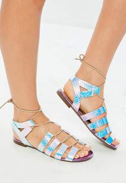 Missguided Purple Iridescent Snake Print Gladiator Sandals