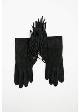 Lanvin Black Suede Fringed Gloves.