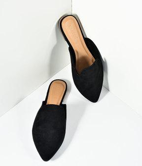 Unique Vintage Black Suede Pointed Toe Mule Slide Flats Shoes