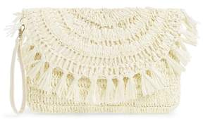 Sole Society Tasseled Raffia Clutch