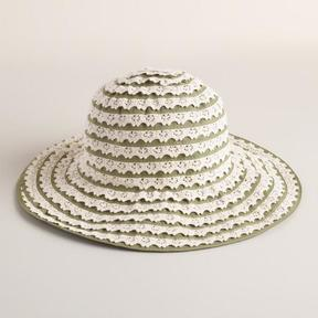 World Market Green and Ivory Crochet Ribbon Hat