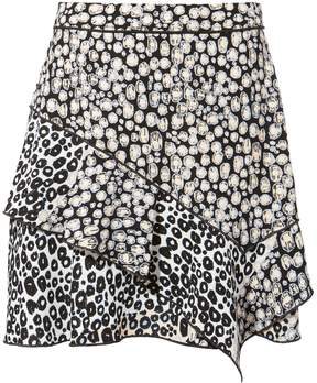 Derek Lam 10 Crosby Ruffle Leopard-Print Crepe Miniskirt