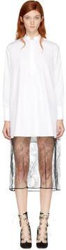 Valentino White Poplin and Lace Shirt Dress