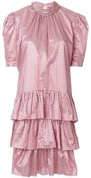 Christopher Kane metallic gingham puff sleeve dress