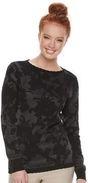 Elle Women's Floral Jacquard Crewneck Sweater