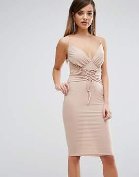 Club L Slinky Corset Tie Up Detail Cami Midi Dress