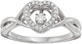 Brilliance+ Brilliance In Motion Brilliance in Motion 1/8 Carat T.W. Diamond Sterling Silver Heart Halo Ring