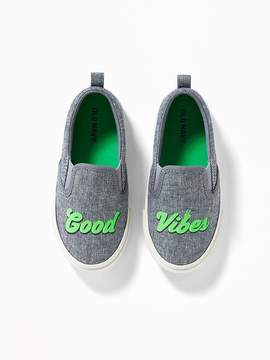 Old Navy Good Vibes Chambray Slip-Ons for Toddler Boys