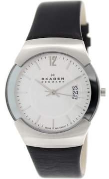 Skagen Men's 981XLSLC Black Leather Swiss Quartz Watch