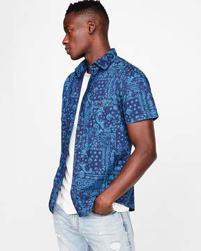 Express Slim Bandana Print Short Sleeve Shirt