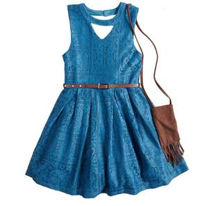 Beautees Girls 7-16 Crochet Skater Dress with Fringed Purse