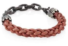 King Baby Studio Sterling Silver Chain & Leather Lanyard Bracelet