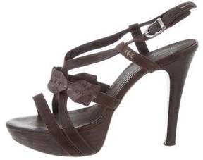 Henry Beguelin Crocodile-Trimmed Platform Sandals